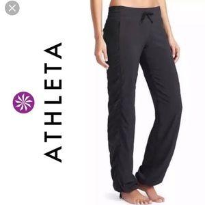 Athleta La Viva Black Dance Pants Cinch Hem Lined